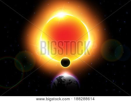 Solar Eclipse ( Vector ) . Moon move around the world and hide sunlight .