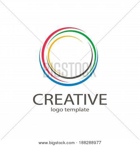 Creative circle colorful logo symbol web geometric icon. Decorative modern design art emblem banner vector on isolated white background