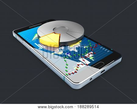 Phone With Chart Pie And Stock Market Char On The Screen. Stock Market Online Business Concept 3D Il