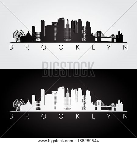 Brooklyn New York city USA skyline and landmarks silhouette black and white design vector illustration.