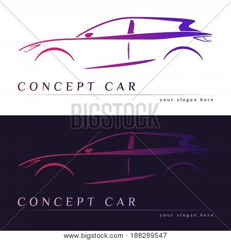 Concept car silhouette. Business card. Vector illustration.