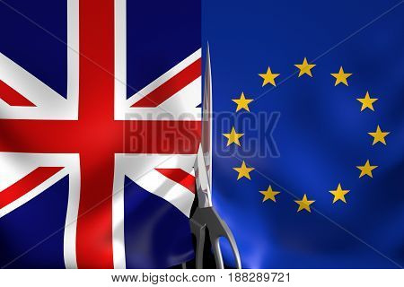 Brexit concept for United Kingdom exiting the European Union, 3D rendering