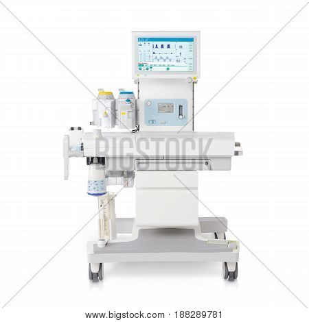Anaesthetic Machine And Vital Signs Monitors Or Patient Monitoring System Isolated On White Backgrou