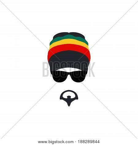 Man wearing rastafarian hat icon in flat style. Vector illustartion.