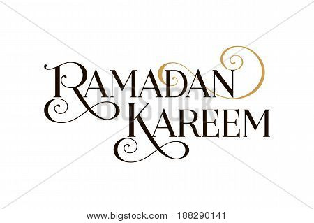 Ramadan Kareem banner. Beautiful greeting scratched calligraphy black text word. Hand drawn invitation T-shirt print design. Handwritten modern brush lettering black white background isolated vector