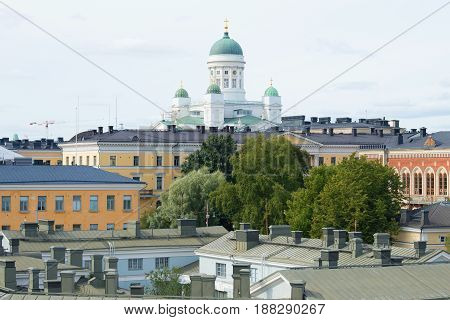 Above the roofs of the old Helsinki. View of the dome of the Cathedral of St. Nicholas