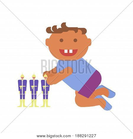 Playground infographic element vector flat illustration, little boy plays. Funny cartoon character isolated on white background