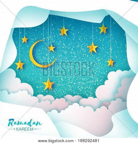 Ramadan Kareem Greeting card. Paper cut Desert Cave Landscape. Clouds. Hanging Gold stars. Crescent Moon. Night sky. Holy month of muslim. Symbol of Islam. Blue. Vector