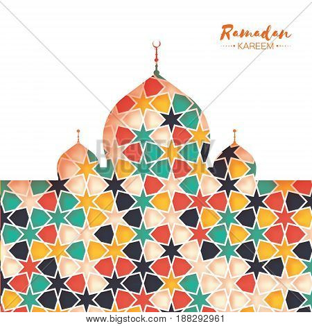 Ramadan Kareem. Colorful Ornamental Arabic pattern with Mosque in paper cut style. Arabesque pattern. Holy month of muslim. Symbol of Islam. Moroccan background. Greeting card. Vector illustration.