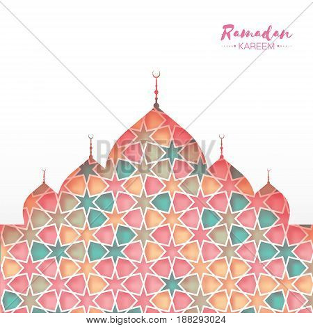 Ramadan Kareem. Pink Ornamental Arabic pattern with Mosque in paper cut style. Arabesque pattern. Holy month of muslim. Symbol of Islam. Moroccan background. Greeting card. Vector illustration.