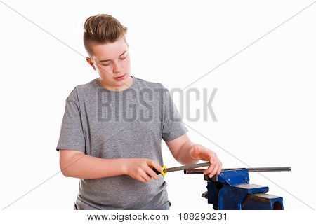 Teenager In Professional Training With Rasp