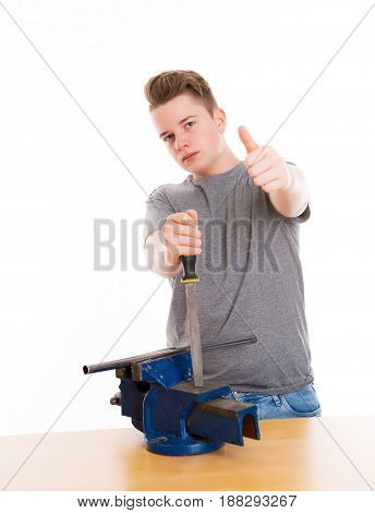 Teenager In Professional Training With Rasp And Thumb Up