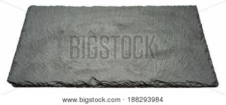 Rough textured black slate board isolated on white background