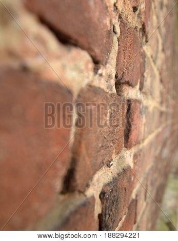 Brick wall close-up view natural brick backgroung