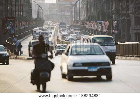 Cairo Egypt - June 11 2015: the 15th May bridge at rush hour an overpass crossing the island of Zamalek in central Cairo.