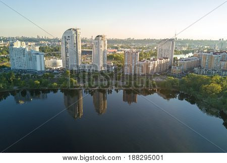 Aerial view of new modern residential Obolon district near Dnieper river in Kiev city, Ukraine