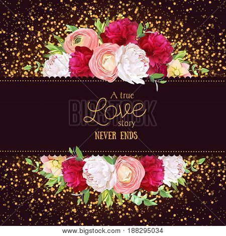 Celebration vector horizontal card with golden glitter dark background. White and burgundy red peony, pink roses, ranunculus flowers, green plants. All elements are isolated and editable