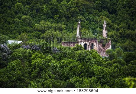 old ruined catholic church near the Chervonohorod Castle Ternopil region of western Ukraine