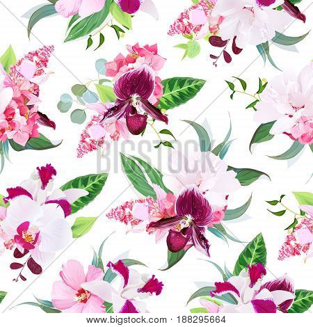 Exotic tropical floral bouquets arranged from white layered hibiscus, medinilla, paphiopedilum orchid, hydrangea, Singapore flowers seamless vector pattern. All elements are isolated and editable.