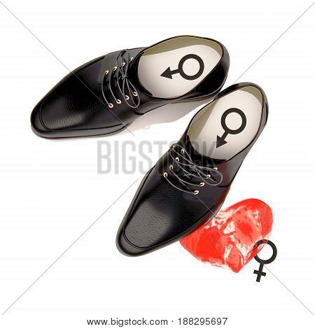 Abstract the concept of men's black shoes stepping on woman's heart. Isolated on white. 3D illustration