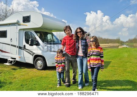 Family vacation, RV travel with kids, happy parents with children on holiday trip in motorhome, camper exterior poster