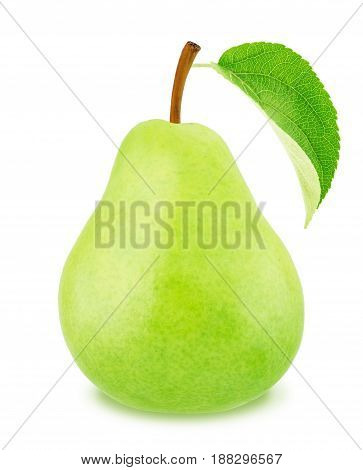 Ripe pear with green leaf isolated on a white