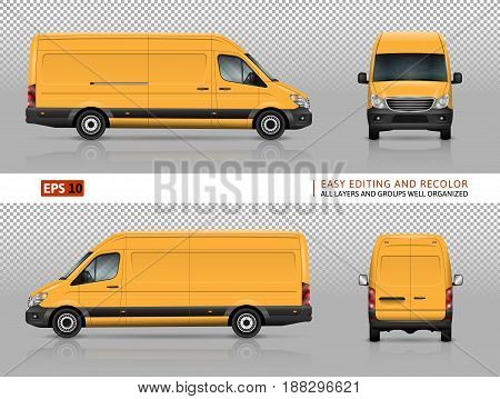 Yellow van vector template for car branding and advertising. Isolated commercial truck on transparent background. View from left and right side back front.