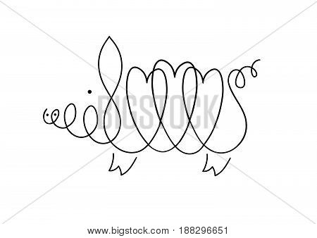 One line pig design silhouette. Hand drawn minimalism style vector illustration. Original vector illustration handmade