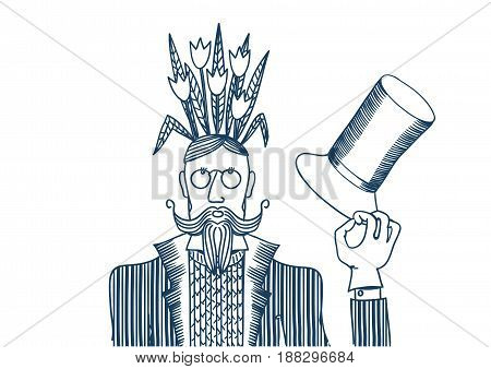 Man with flowers on the head, blue contour. Vector illustration depicting a man with flowers on her head