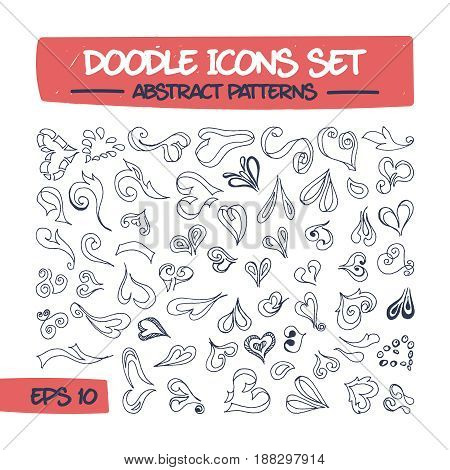 Doodle Icons Set - Abstract Hearts Pattern. Sketch Sign Illustration on Paper of Hand Drawn Hearts. Hand Drawing Line Icons for Web, App, Mobile, Education and Printing Flyers. .