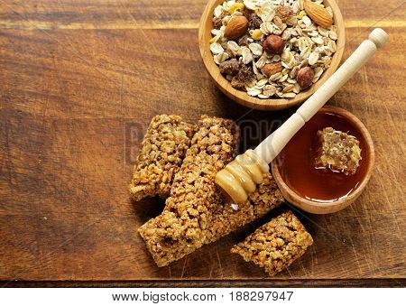 muesli bars from whole grain granola with honey for breakfast