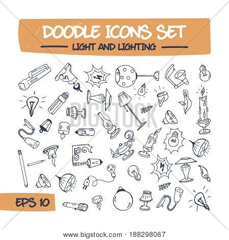Doodle Icons Set of Lighting. Sketch Sign Illustration on Paper of Hand Drawn Lighting Fixtures, Chandeliers, Searchlights, Lamps, Table Lamps, Floor Lamps. Hand Drawing Line Icons for Web.