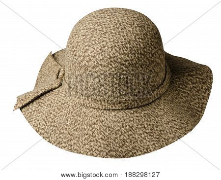 Fedora Hat. Hat Isolated On White Background . Brown Hat