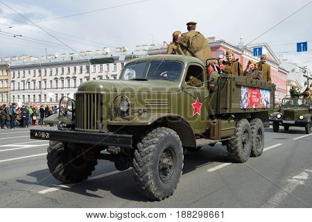 SAINT-PETERSBURG, RUSSIA - MAY 09, 2017: Military all-wheel drive truck ZIL-157 close-up. Parade of retro-transport in honor of Victory Day
