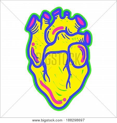 Artistic decorative hand drawn heart in trendy modern pop art style. Fashion sticker design element symbol T-shirt