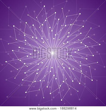 Geometric pattern with connected lines and dots. Vector illustration on violet background.