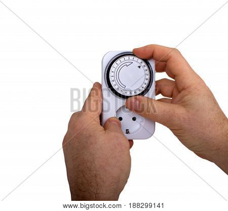 Man Adjusting Timer