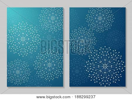 Modern vector templates for brochure cover in A4 size. Abstract geometric forms with connected lines and dots. Business, science, medicine and technology design.