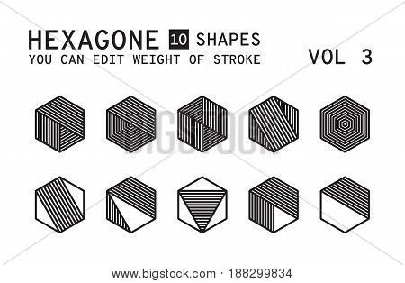 Geometric logo design. Minimal linear vector shapes set with easy editable weight of strokes