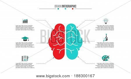 Vector brain left analytical and right creative hemispheres infographics. Medical and healthcare template for presentation with 6 steps, options, parts or processes.