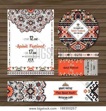 Collection of banners, flyers with geometric elements. Flyer design in bohemian style