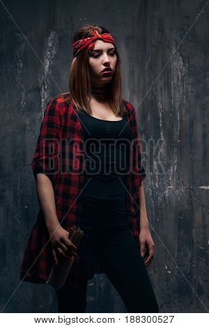 Young woman alcoholic addiction problem, . Tired drunk caucasian girl holding alcohol bottle, she sad and depressed.