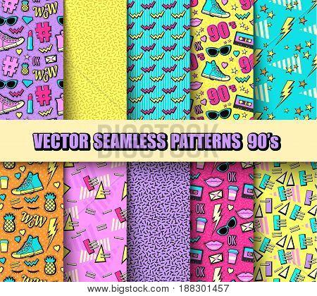 Vector illustration neon pop background 80s 90s.
