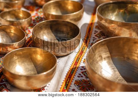 Singing Bowls - Cup of life - popular mass product souvenier in Nepal, Tibet and India- Staying on ethnic traditional ornament cotton