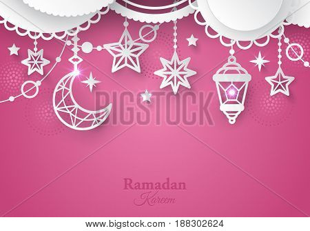 Islamic Paper Ornaments Abstract Background. Ramadan Kareem Banner Design