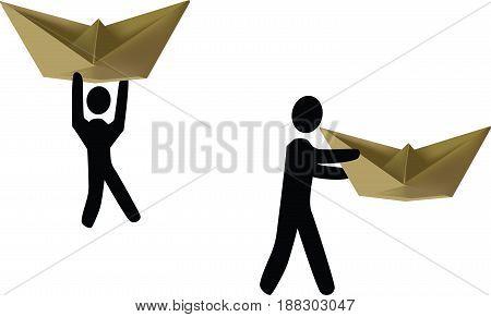 People carry their boat People carry their boat