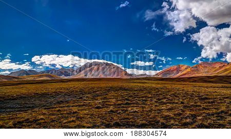 Landscape of colored mountain near Kokemeren river in Djumgal Kyrgyzstan