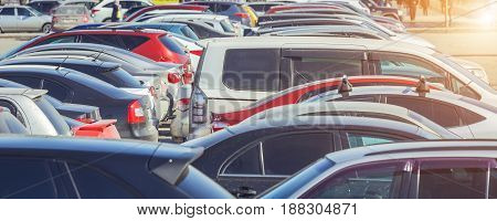 Used car parking on the city street