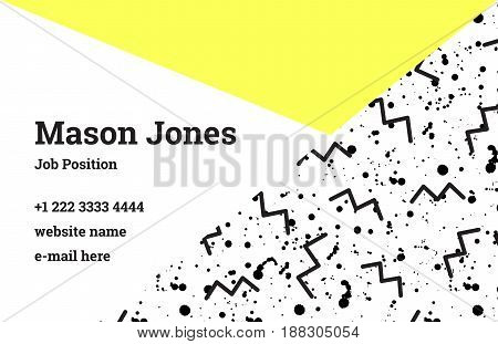 Fashion business card template in the style of Memphis. Bright yellow and black colors. A pattern of black zigzags and smudges or splatters of paint. Funky design business card template.