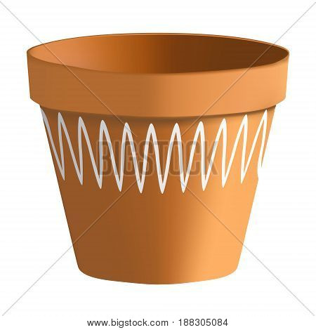 3D Photorealistic Clay Pot On A White Background. Pot Of Clay With A Pattern For Plants And Flowers.